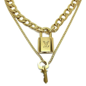 Louis Vuitton Padlock Necklace with Double Chain - Boutique SecondLife