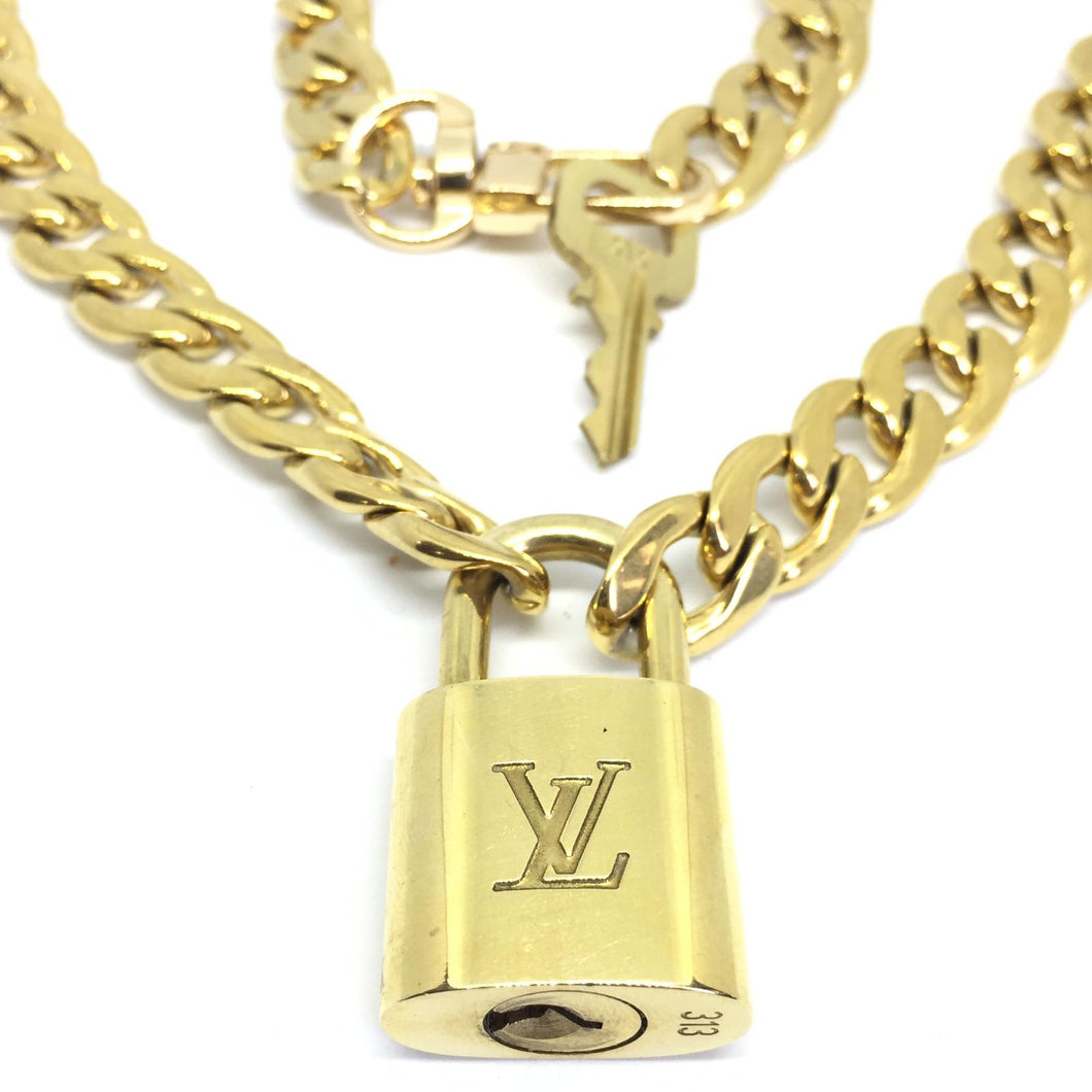 Louis Vuitton Set Lock Cuban Chain Necklace with Key Bracelet