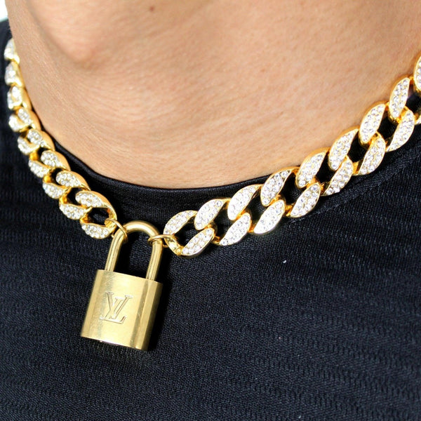 Padlock Necklace with Iced Out chain for Him