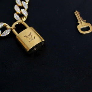 Louis Vuitton Padlock with Rhinestone 'Hip Hop' Necklace For Him