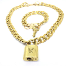 Load image into Gallery viewer, Louis Vuitton Set Lock Cuban Chain Necklace with Key Bracelet