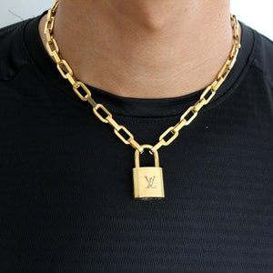 Louis Vuitton Padlock with Geometric Link Chain Necklace For Him