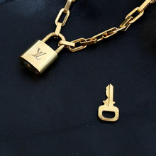 Load image into Gallery viewer, Louis Vuitton Padlock with Geometric Link Chain Necklace For Him