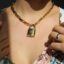 Load image into Gallery viewer, Padlock Geometric Link Necklace NO KEY