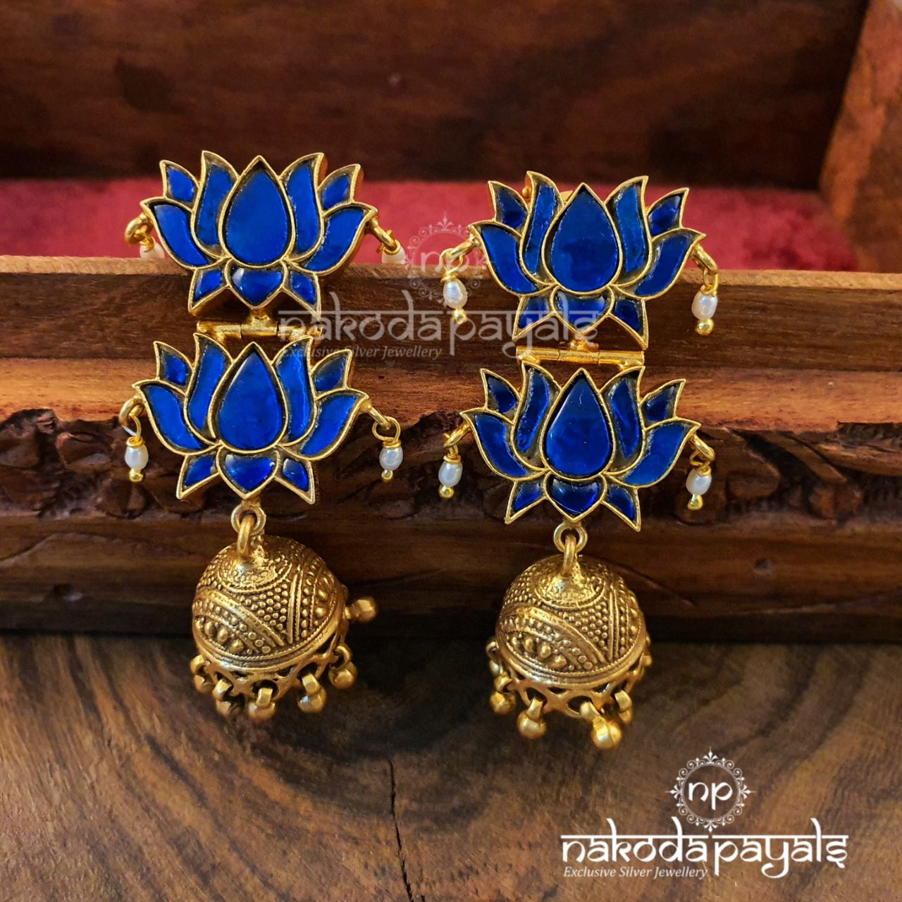Royal Double Lotus Jhumka