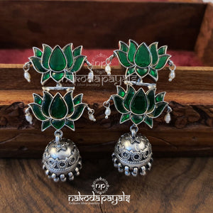 Green Twin Lotus Jhumka