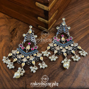 Flary Butterfly Yellow Kundan Chandbali