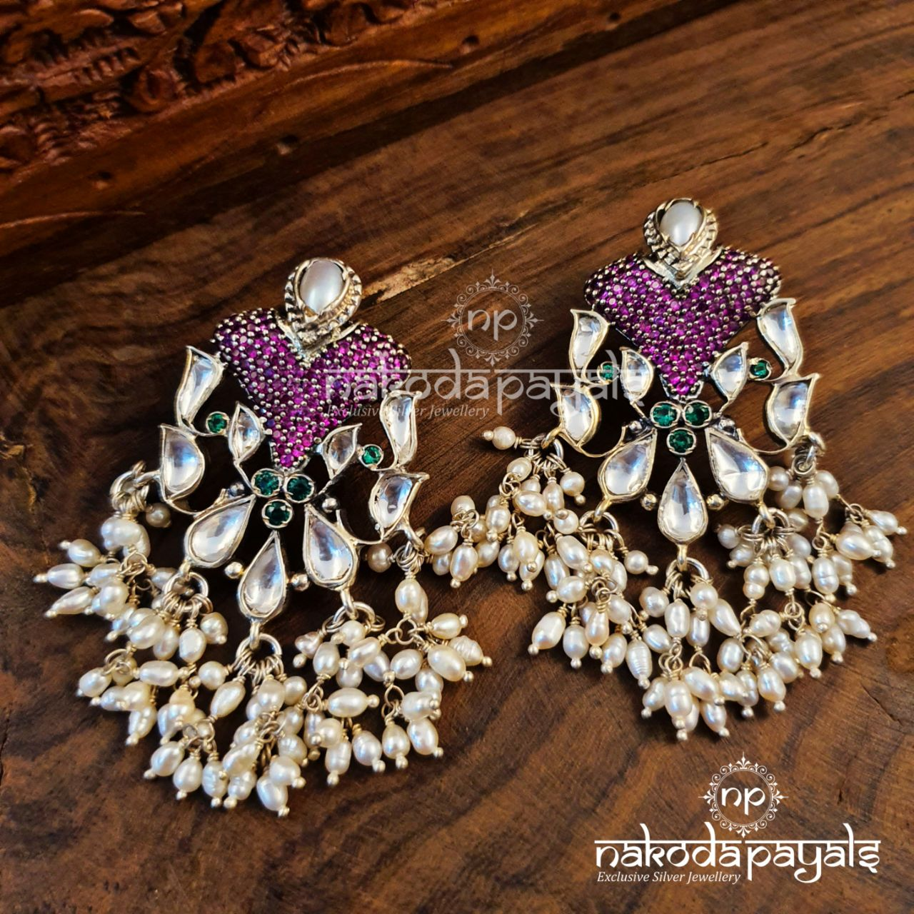 Pinkish Pearly Kundan Chandbali
