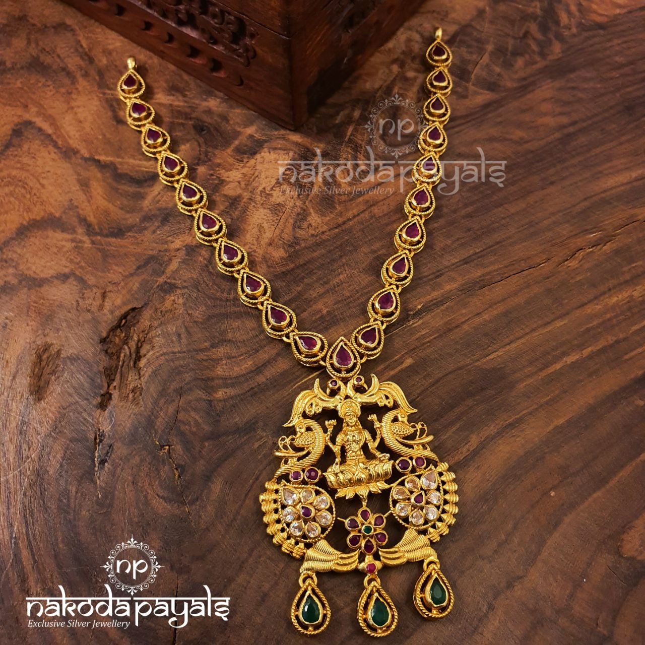 Ruby Drops Lakshmi Necklace