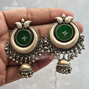 Green Glass In Moon Jhumka