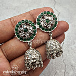 Glowing Green Stud Jhumka