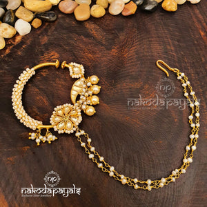 Double Chained Pearl In Kundan Nath