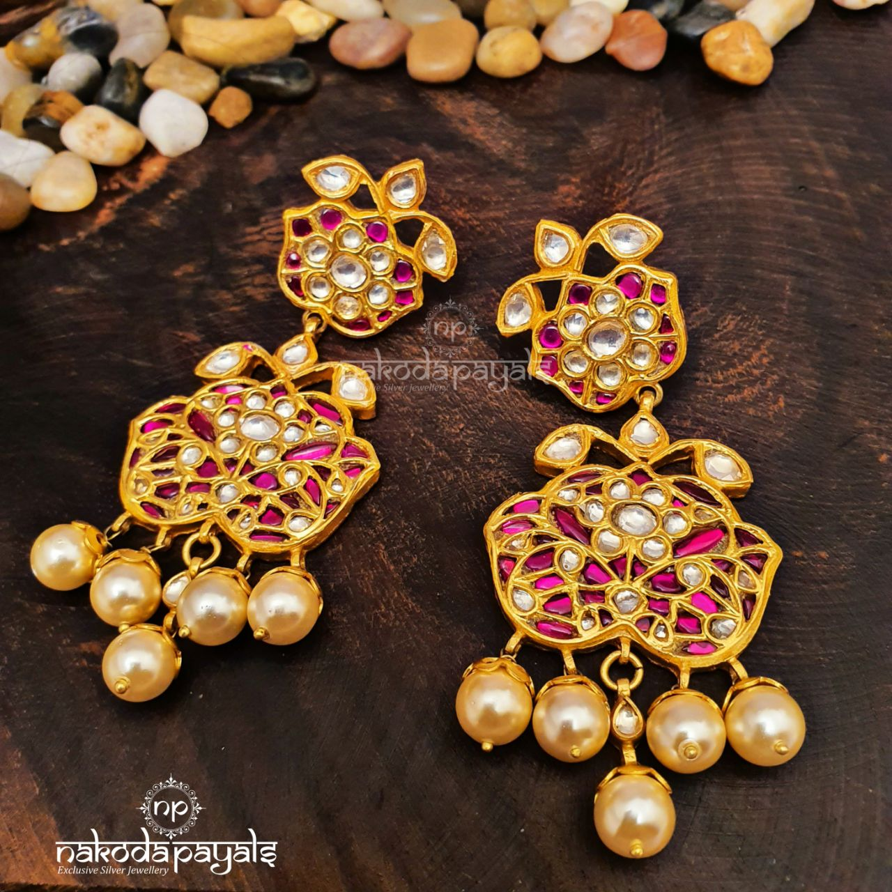 Big Pearled Kundan Chandbali