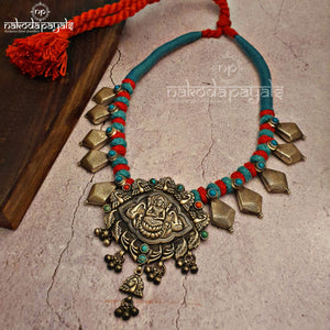 Dark Oxidised Lakshmi Thread Necklace