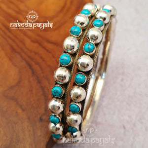 Turquoise And Balls Bangle Pair