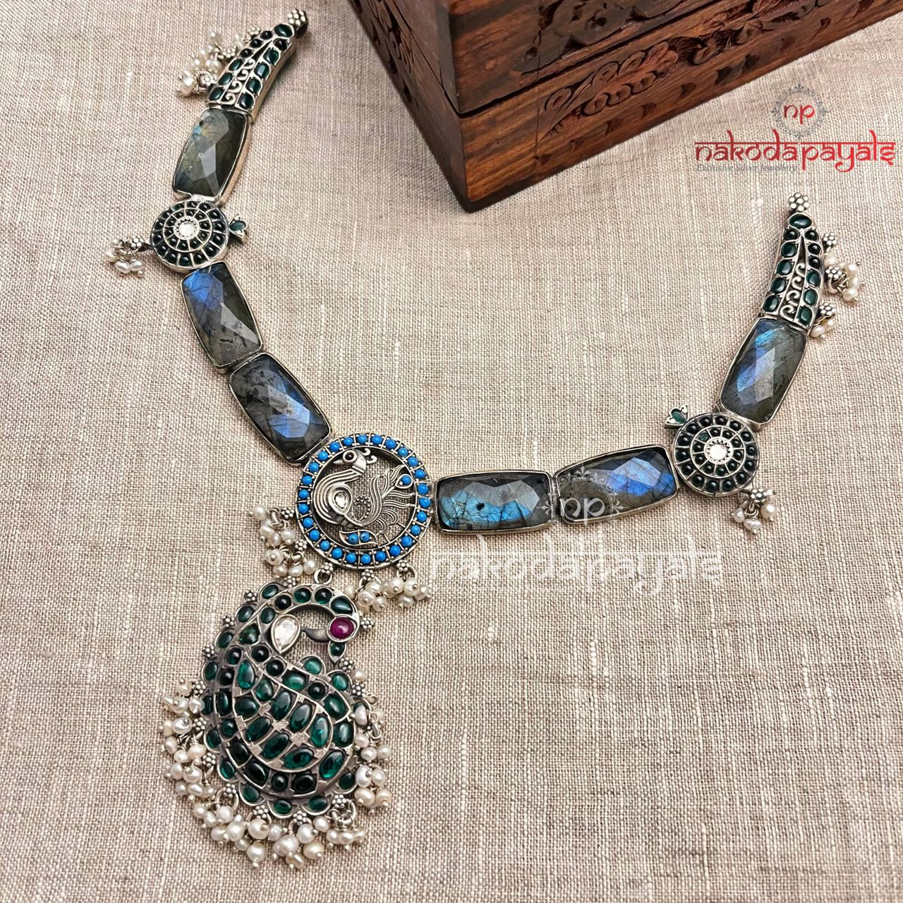 Blue Shade Peacock Necklace