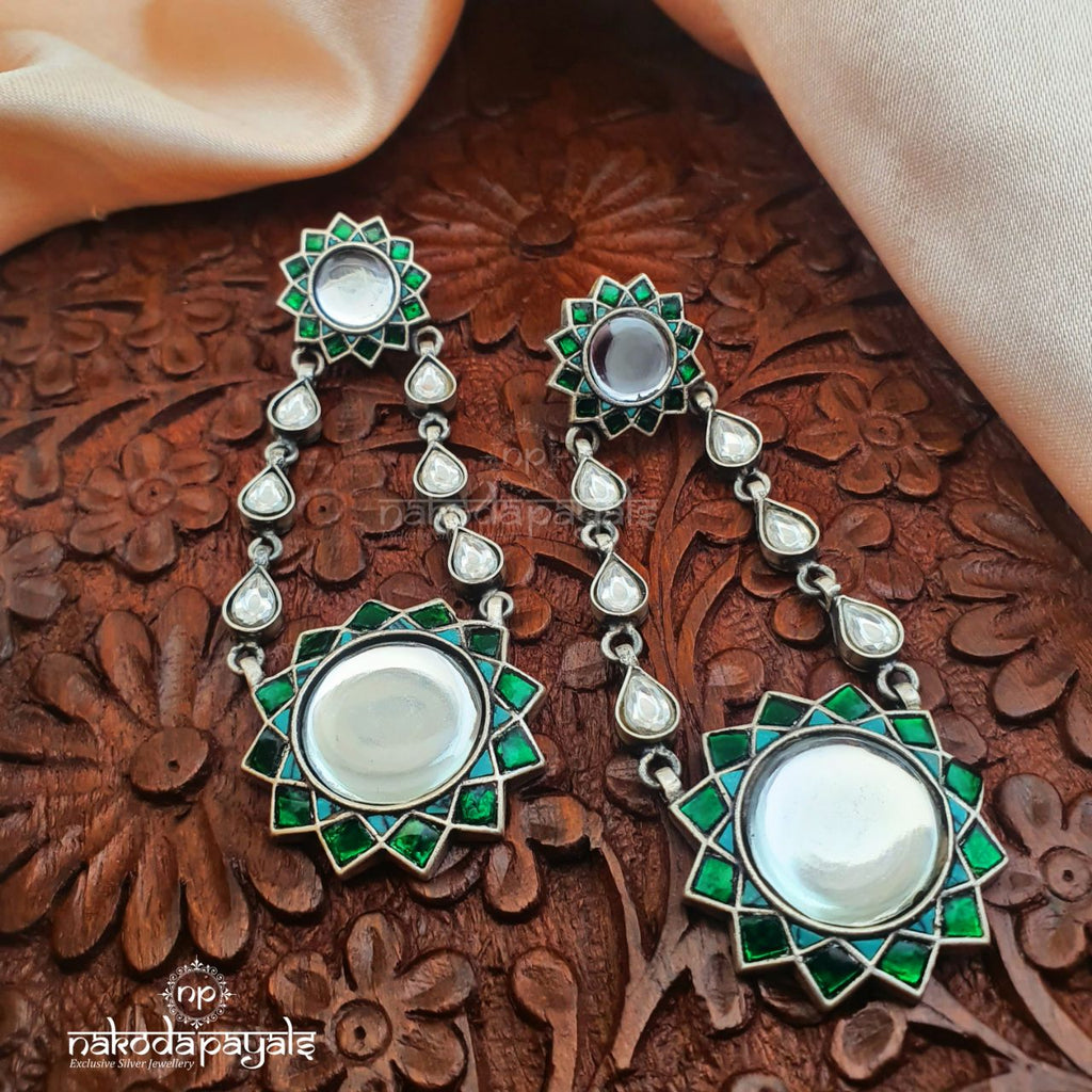 Green Kundan Eye Floral Chandbali