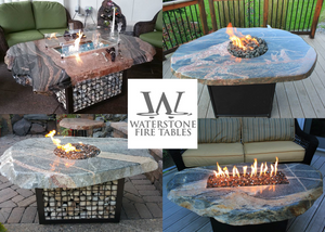 "Waterstone Arctic Sea Half and Half Fire Table (72"" x 35"") - The Fire Pit Collection"