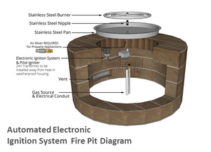 "The Outdoor Plus 84"" x 24"" Ready-to-Finish Octagon Gas Fire Pit Kit + Free Cover - The Fire Pit Collection"