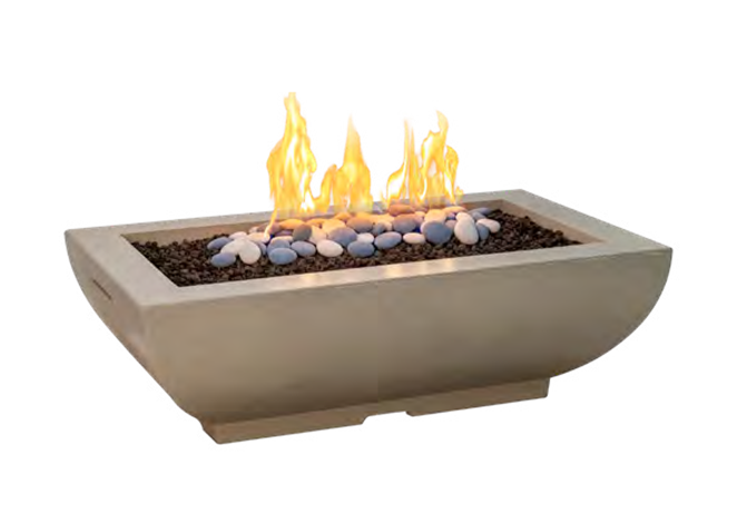 American Fyre Designs Bordeaux Rectangle Fire Bowl + Free Cover - The Fire Pit Collection