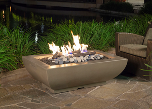 American Fyre Designs Bordeaux Rectangle Fire Bowl with Electronic Ignition + Free Cover - The Fire Pit Collection