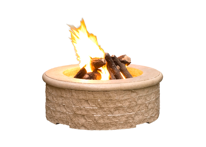 American Fyre Designs Chiseled Fire Pit with Electronic Ignition + Free Cover - The Fire Pit Collection