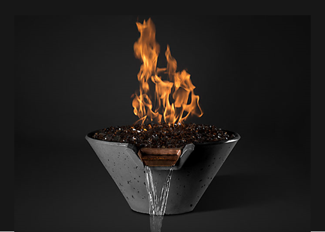 Slick Rock Concrete Cascade Conical Fire on Glass Water Bowl with Match Ignition