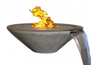 "Fire by Design Geo Round ""Essex"" Fire on Water Bowl + Free Cover - The Fire Pit Collection"