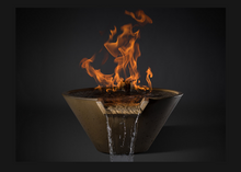 Slick Rock Concrete Cascade Conical Fire on Water Bowl with Electronic Ignition