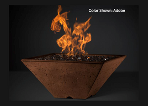 Slick Rock Concrete Ridgeline Square Fire Bowl with Electronic Ignition