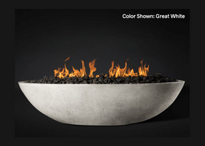 "Slick Rock Concrete Oasis 60"" Oval Fire Bowl with Electronic Ignition + Free Cover"