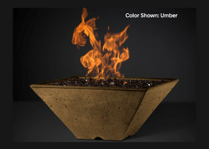 Slick Rock Concrete Ridgeline Square Fire Bowl with Electronic Ignition + Free Cover
