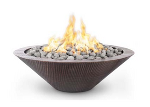 The Outdoor Plus Cazlon Hammered Copper Fire Pit / No Ledge + Free Cover - The Fire Pit Collection