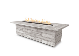 The Outdoor Plus Laguna Wood Grain Concrete Fire Table + Free Cover - The Fire Pit Collection