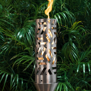 The Outdoor Plus Cubist Fire Torch / Stainless Steel + Free Cover - The Fire Pit Collection