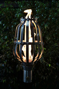The Outdoor Plus Urn Fire Torch / Stainless Steel + Free Cover - The Fire Pit Collection