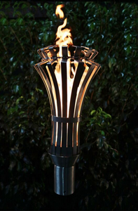 The Outdoor Plus Gothic Fire Torch / Stainless Steel + Free Cover - The Fire Pit Collection