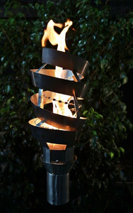 The Outdoor Plus Spiral Fire Torch / Stainless Steel + Free Cover - The Fire Pit Collection