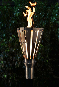 The Outdoor Plus Trojan Fire Torch / Stainless Steel + Free Cover - The Fire Pit Collection