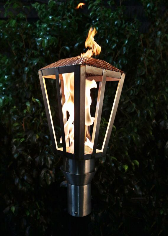The Outdoor Plus Lantern Fire Torch / Stainless Steel + Free Cover - The Fire Pit Collection