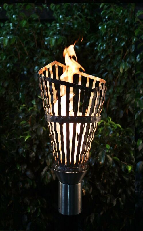 The Outdoor Plus Roman Fire Torch / Stainless Steel + Free Cover - The Fire Pit Collection