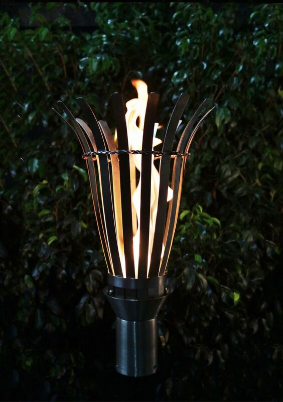 The Outdoor Plus Basket Fire Torch / Stainless Steel + Free Cover - The Fire Pit Collection