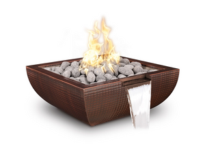 The Outdoor Plus Avalon Hammered Copper Fire & Water Bowl + Free Cover - The Fire Pit Collection
