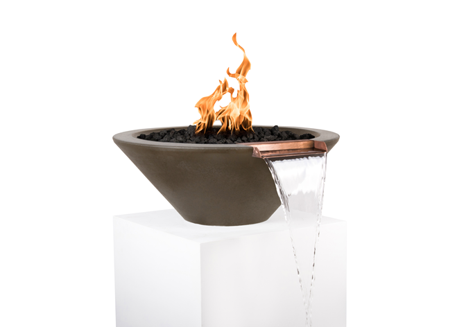 The Outdoor Plus Cazo Concrete Fire & Water Bowl + Free Cover - The Fire Pit Collection