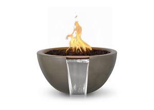 The Outdoor Plus Luna Concrete Fire & Water Bowl + Free Cover - The Fire Pit Collection