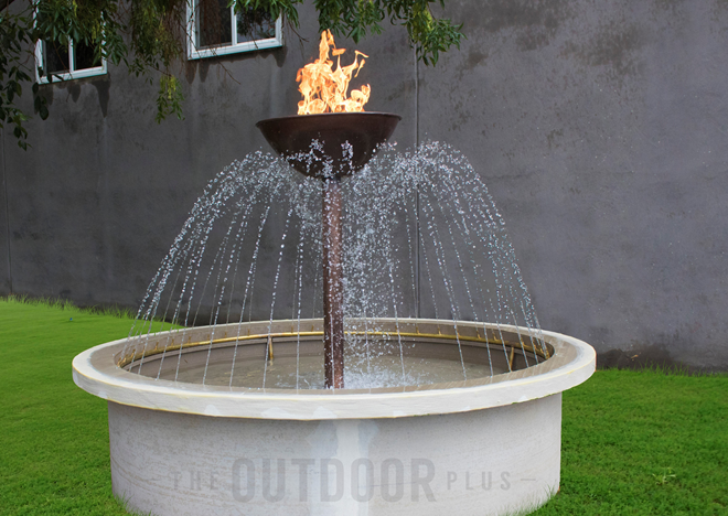 The Outdoor Plus Osiris Fire & Water Fountain + Free Cover - The Fire Pit Collection