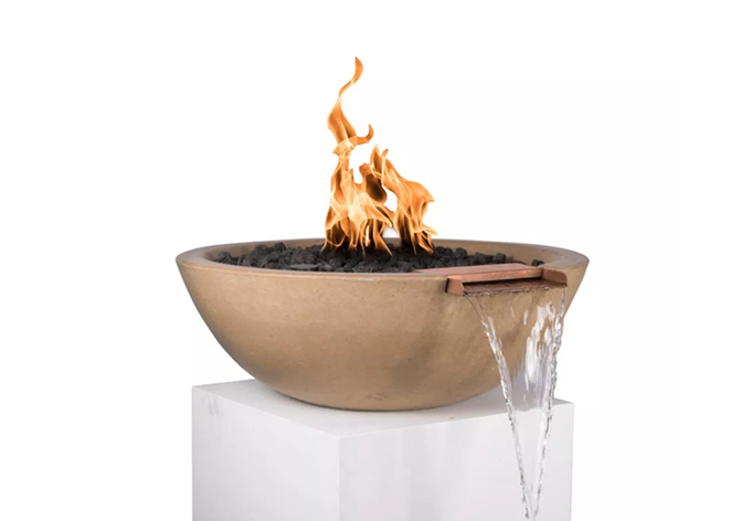 The Outdoor Plus Sedona Concrete Fire & Water Bowl + Free Cover - The Fire Pit Collection