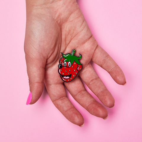 Strawberry Pupper Enamel Pin