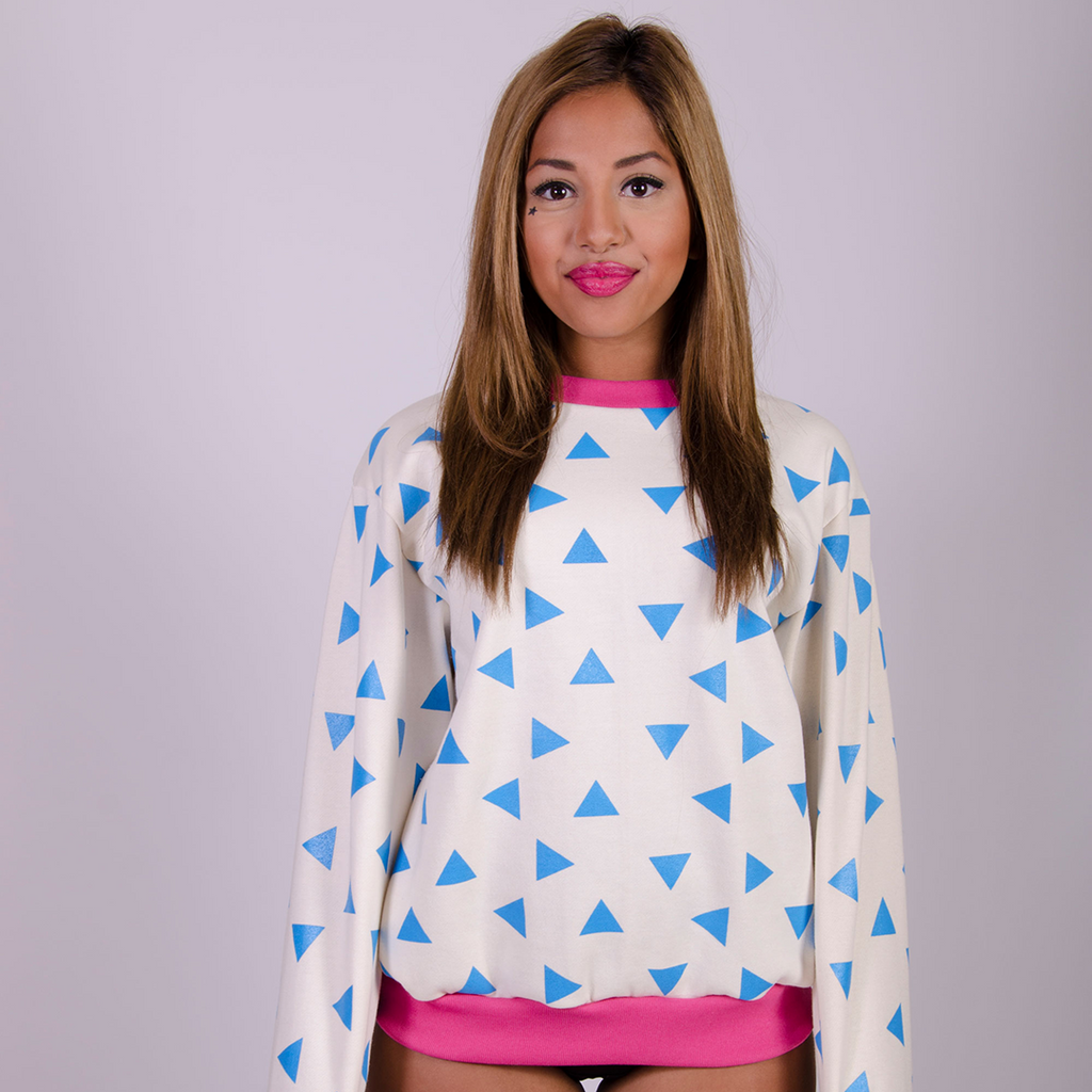 Triangle Sweatshirt Seconds - Cream and Blue