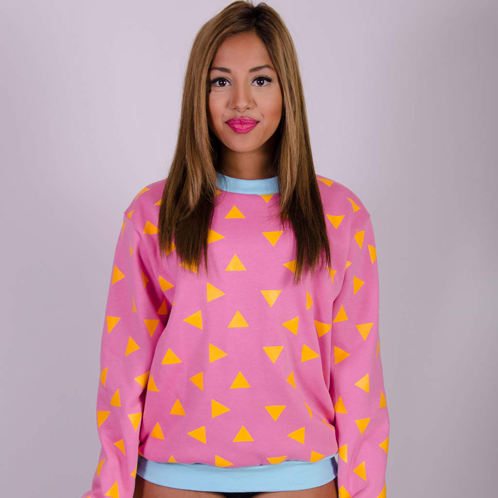 Triangle Sweatshirt Seconds - Pink and Yellow